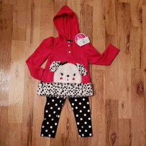 NWT Nannette Dalmatian Puppy Hoodie Set